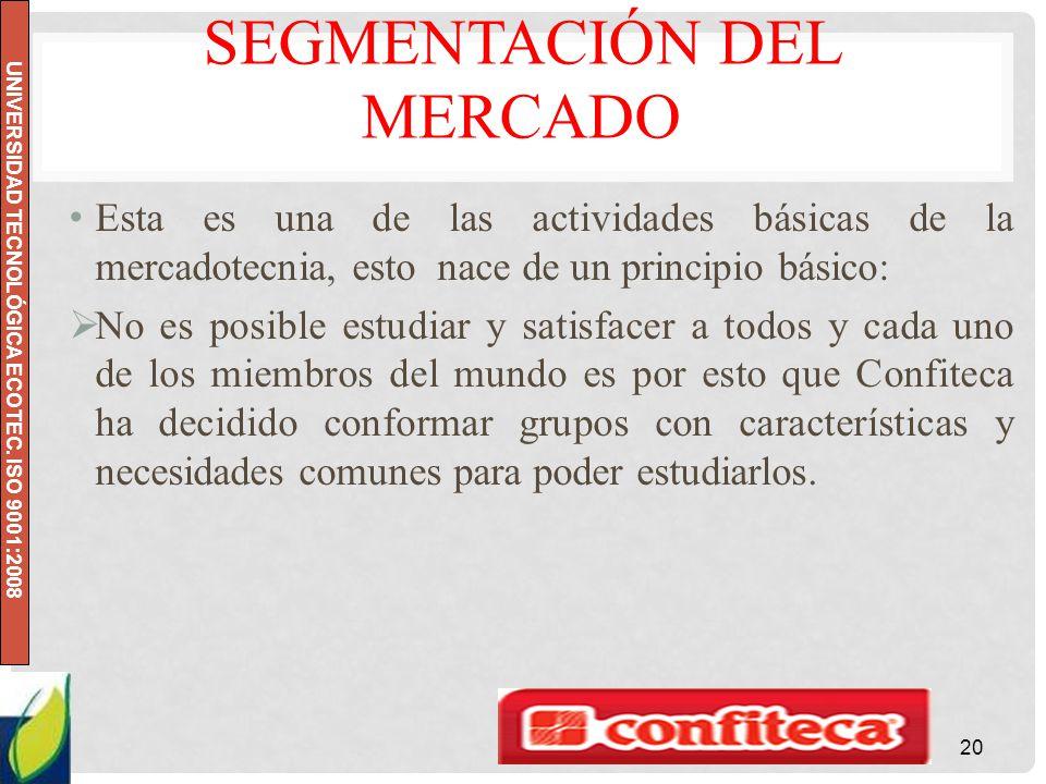 UNIVERSIDAD TECNOLÓGICA ECOTEC. ISO 9001:2008 SEGMENTACIÓN DEL MERCADO Esta es una de las actividades básicas de la mercadotecnia, esto nace de un pri