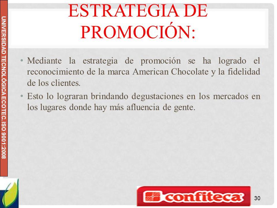 UNIVERSIDAD TECNOLÓGICA ECOTEC. ISO 9001:2008 ESTRATEGIA DE PROMOCIÓN: Mediante la estrategia de promoción se ha logrado el reconocimiento de la marca