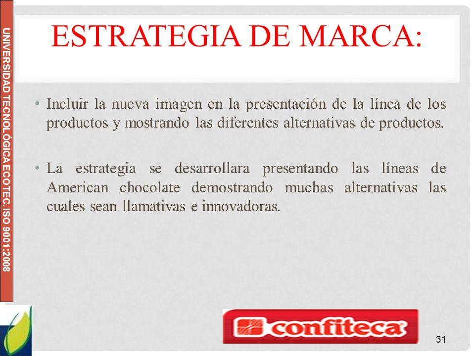 UNIVERSIDAD TECNOLÓGICA ECOTEC. ISO 9001:2008 ESTRATEGIA DE MARCA: Incluir la nueva imagen en la presentación de la línea de los productos y mostrando