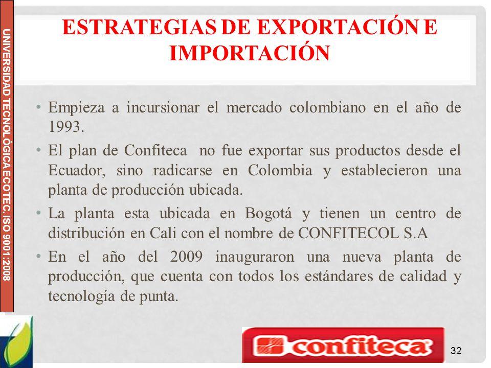 UNIVERSIDAD TECNOLÓGICA ECOTEC. ISO 9001:2008 ESTRATEGIAS DE EXPORTACIÓN E IMPORTACIÓN Empieza a incursionar el mercado colombiano en el año de 1993.