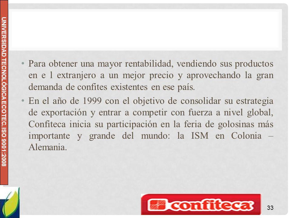 UNIVERSIDAD TECNOLÓGICA ECOTEC. ISO 9001:2008 Para obtener una mayor rentabilidad, vendiendo sus productos en e l extranjero a un mejor precio y aprov