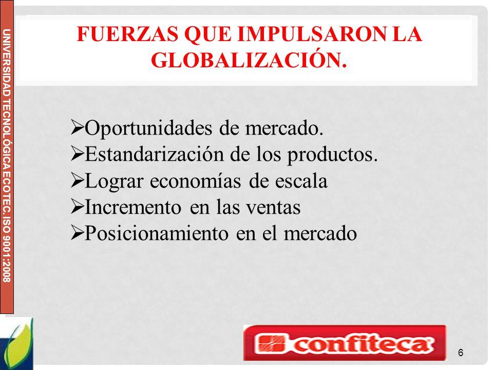 UNIVERSIDAD TECNOLÓGICA ECOTEC. ISO 9001:2008 FUERZAS QUE IMPULSARON LA GLOBALIZACIÓN. 6 Oportunidades de mercado. Estandarización de los productos. L