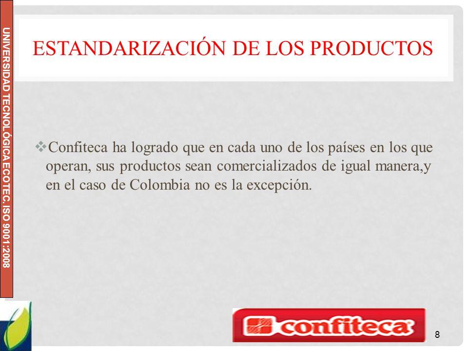 UNIVERSIDAD TECNOLÓGICA ECOTEC. ISO 9001:2008 ESTANDARIZACIÓN DE LOS PRODUCTOS Confiteca ha logrado que en cada uno de los países en los que operan, s