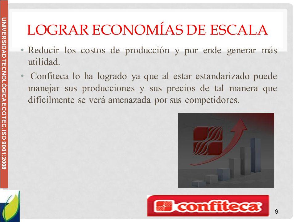 UNIVERSIDAD TECNOLÓGICA ECOTEC. ISO 9001:2008 LOGRAR ECONOMÍAS DE ESCALA Reducir los costos de producción y por ende generar más utilidad. Confiteca l