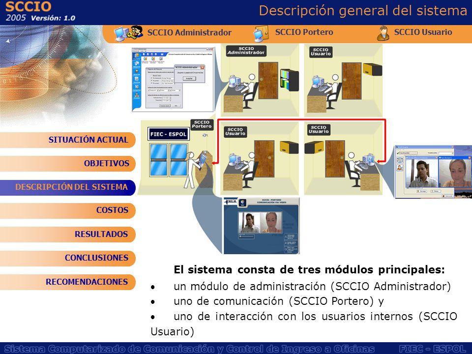 SCCIO Administrador SCCIO PorteroSCCIO Usuario Descripción general del sistema El sistema consta de tres módulos principales: un módulo de administrac