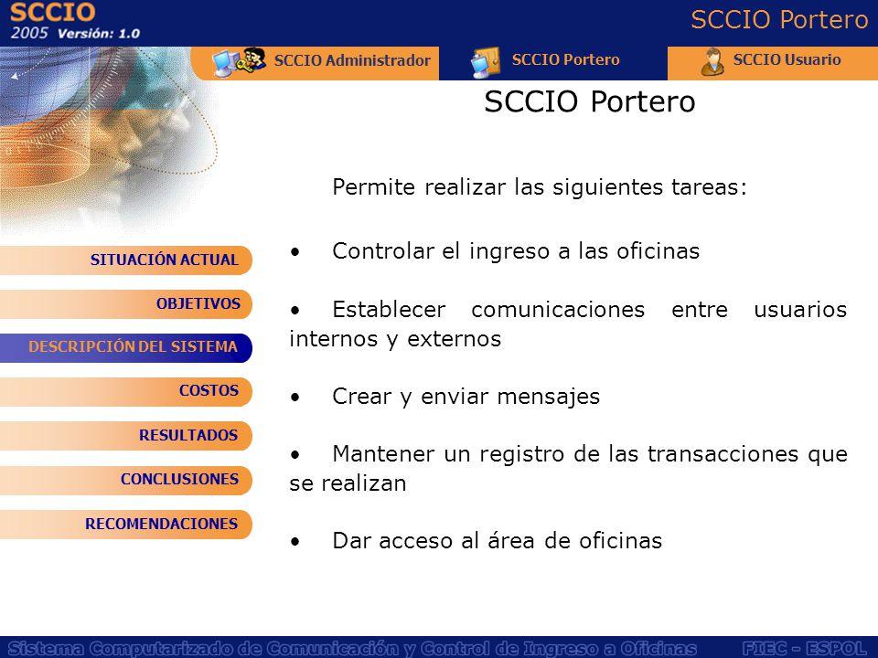 SCCIO Administrador SCCIO PorteroSCCIO Usuario SCCIO Portero Permite realizar las siguientes tareas: Controlar el ingreso a las oficinas Establecer co