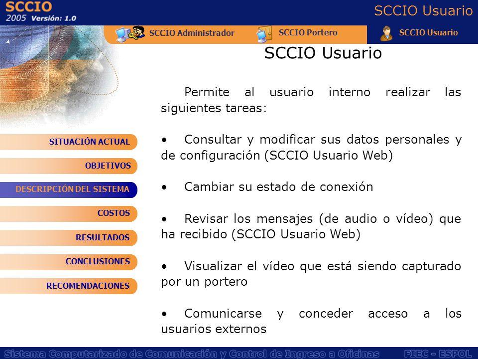 SCCIO Administrador SCCIO PorteroSCCIO Usuario Permite al usuario interno realizar las siguientes tareas: Consultar y modificar sus datos personales y