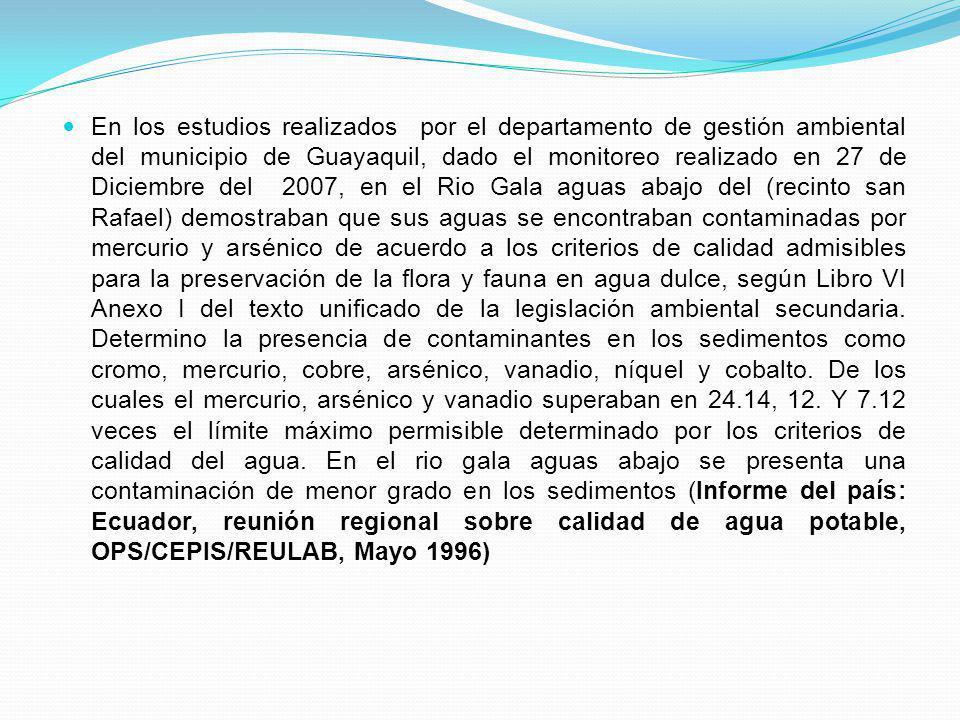 En los estudios realizados por el departamento de gestión ambiental del municipio de Guayaquil, dado el monitoreo realizado en 27 de Diciembre del 200