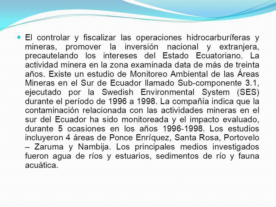 El controlar y fiscalizar las operaciones hidrocarburíferas y mineras, promover la inversión nacional y extranjera, precautelando los intereses del Es