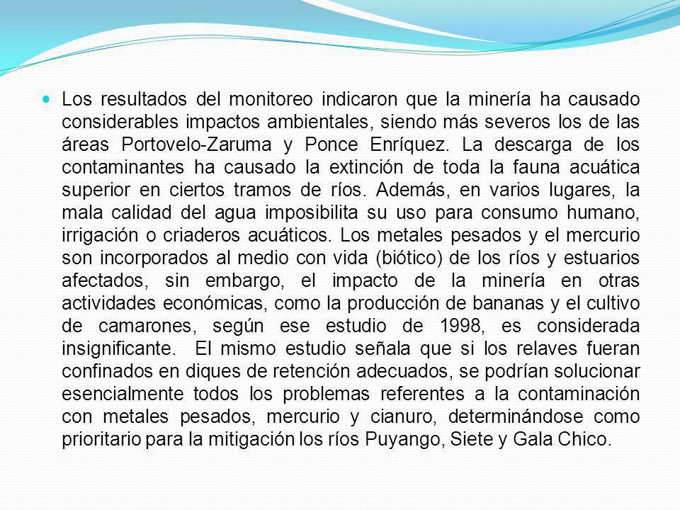 Los resultados del monitoreo indicaron que la minería ha causado considerables impactos ambientales, siendo más severos los de las áreas Portovelo-Zar