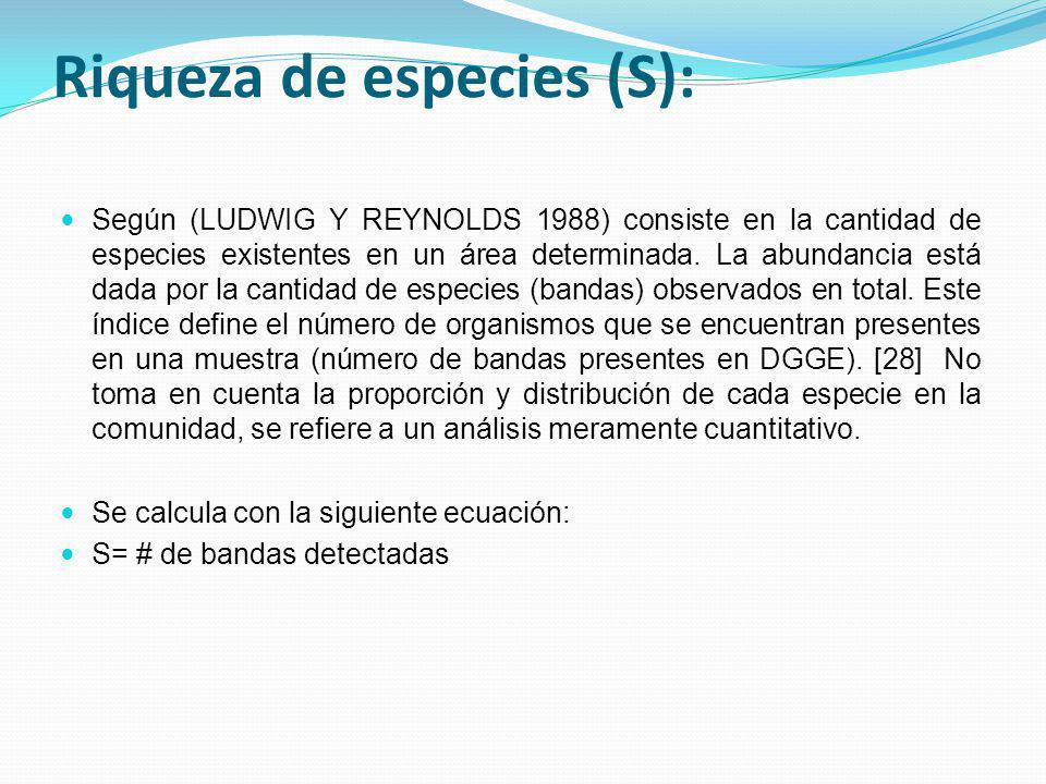 Riqueza de especies (S): Según (LUDWIG Y REYNOLDS 1988) consiste en la cantidad de especies existentes en un área determinada. La abundancia está dada