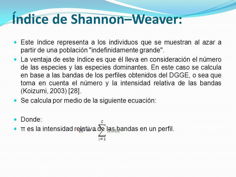 Índice de Shannon–Weaver: Este índice representa a los individuos que se muestran al azar a partir de una población