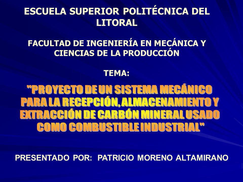 ESCUELA SUPERIOR POLITÉCNICA DEL LITORAL FACULTAD DE INGENIERÍA EN MECÁNICA Y CIENCIAS DE LA PRODUCCIÓN TEMA: PRESENTADO POR: PATRICIO MORENO ALTAMIRANO