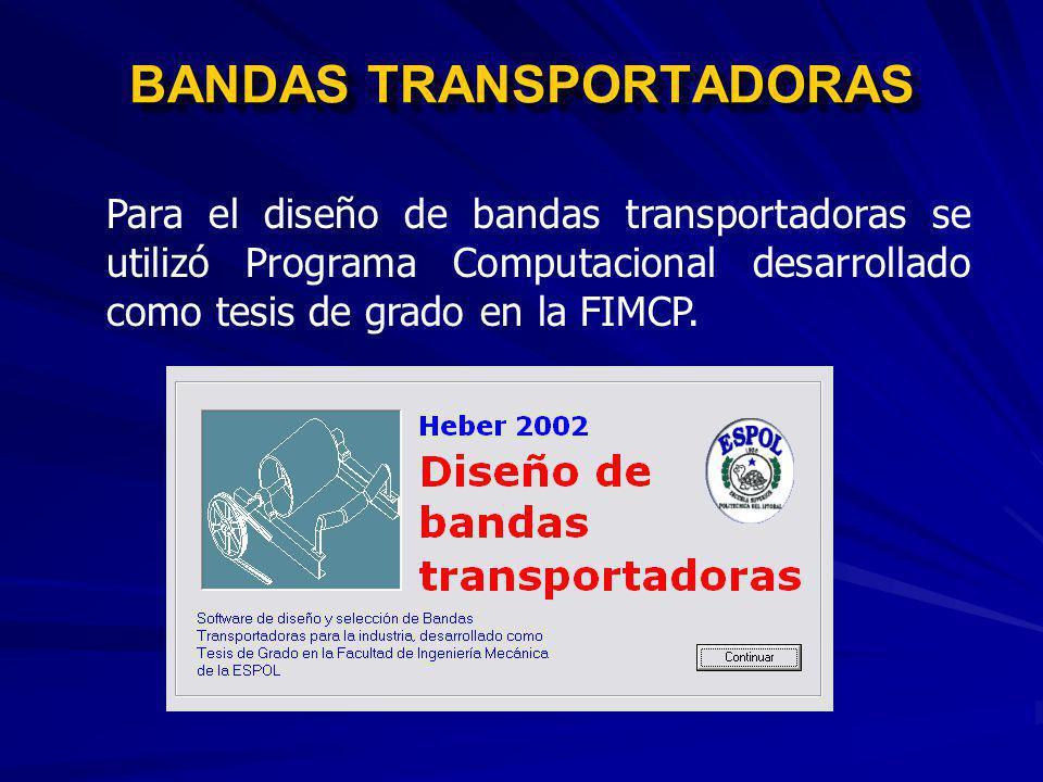 BANDAS TRANSPORTADORAS BANDA BT1 BANDA BT2 BANDA BT3 BT2 BT3 250000 50000 100000 APILADOR TRIPPER CAR CP PILA DE CARBÓN BANDA TRANSPORTADORA DE ALIMEN