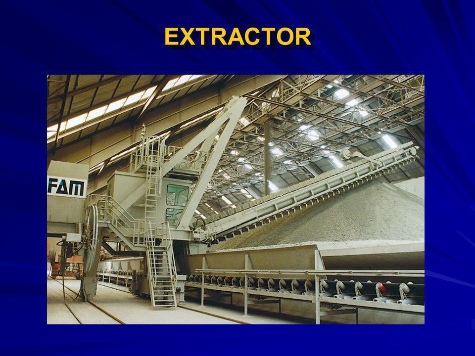 EXTRACTOREXTRACTOR DATOS PARA SELECCIÓN: Material:Carbón Bituminoso. Tamaño:50 mm Altura de la pila:10 m. Ancho de la pila:28.6 m. Capacidad:100 TM/h.