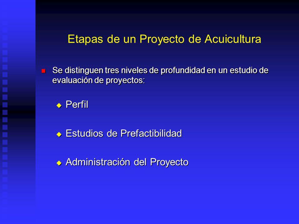 Etapas de un Proyecto de Acuicultura Se distinguen tres niveles de profundidad en un estudio de evaluación de proyectos: Se distinguen tres niveles de profundidad en un estudio de evaluación de proyectos: Perfil Perfil Estudios de Prefactibilidad Estudios de Prefactibilidad Administración del Proyecto Administración del Proyecto