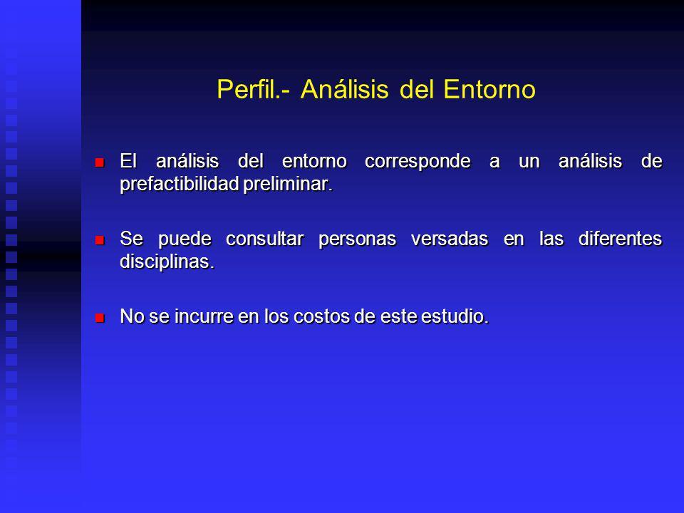 Perfil.- Análisis del Entorno El análisis del entorno corresponde a un análisis de prefactibilidad preliminar.