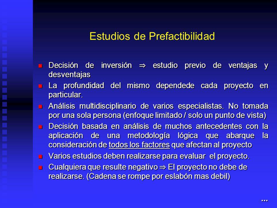Estudios de Prefactibilidad Decisión de inversión estudio previo de ventajas y desventajas Decisión de inversión estudio previo de ventajas y desventajas La profundidad del mismo dependede cada proyecto en particular.