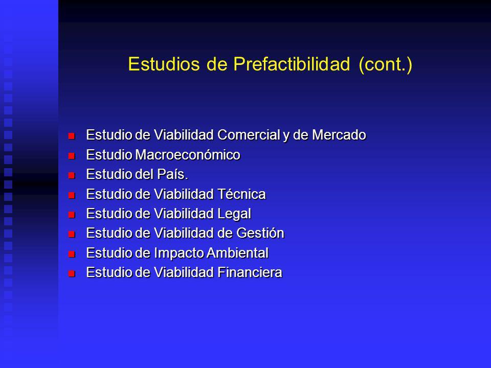 Estudios de Prefactibilidad (cont.) Estudio de Viabilidad Comercial y de Mercado Estudio de Viabilidad Comercial y de Mercado Estudio Macroeconómico Estudio Macroeconómico Estudio del País.