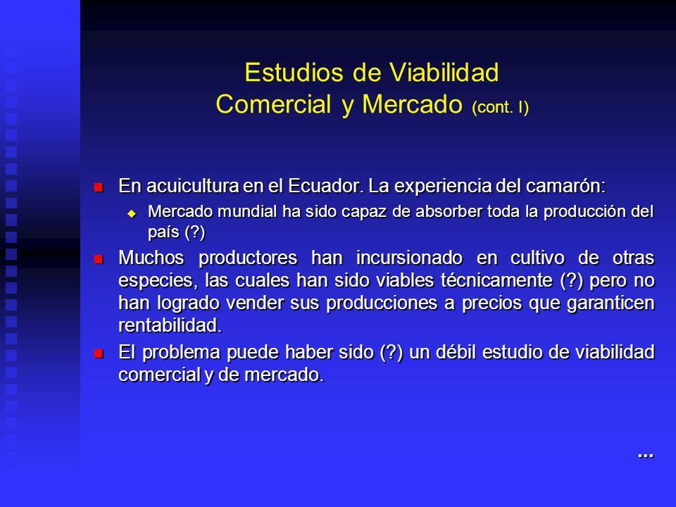 Estudios de Viabilidad Comercial y Mercado (cont.I) En acuicultura en el Ecuador.