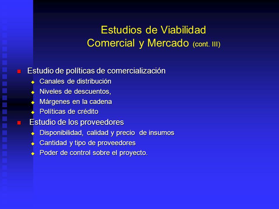 Estudios de Viabilidad Comercial y Mercado (cont.