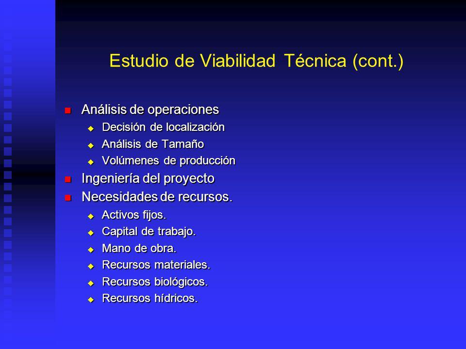Estudio de Viabilidad Técnica (cont.) Análisis de operaciones Análisis de operaciones Decisión de localización Decisión de localización Análisis de Tamaño Análisis de Tamaño Volúmenes de producción Volúmenes de producción Ingeniería del proyecto Ingeniería del proyecto Necesidades de recursos.