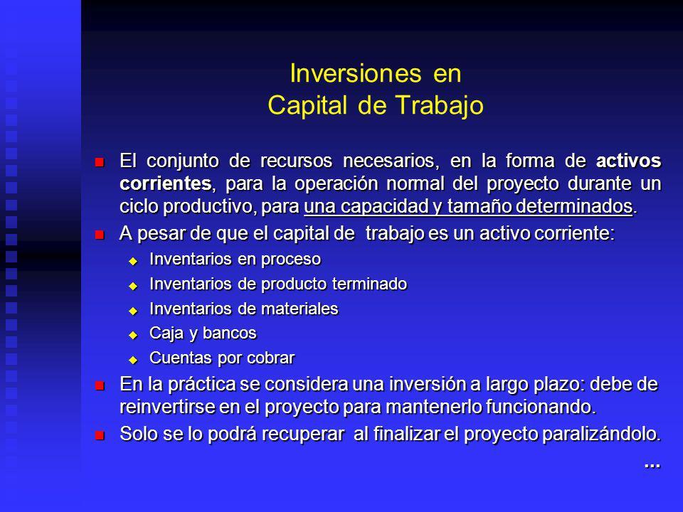 Inversiones en Capital de Trabajo El conjunto de recursos necesarios, en la forma de activos corrientes, para la operación normal del proyecto durante un ciclo productivo, para una capacidad y tamaño determinados.