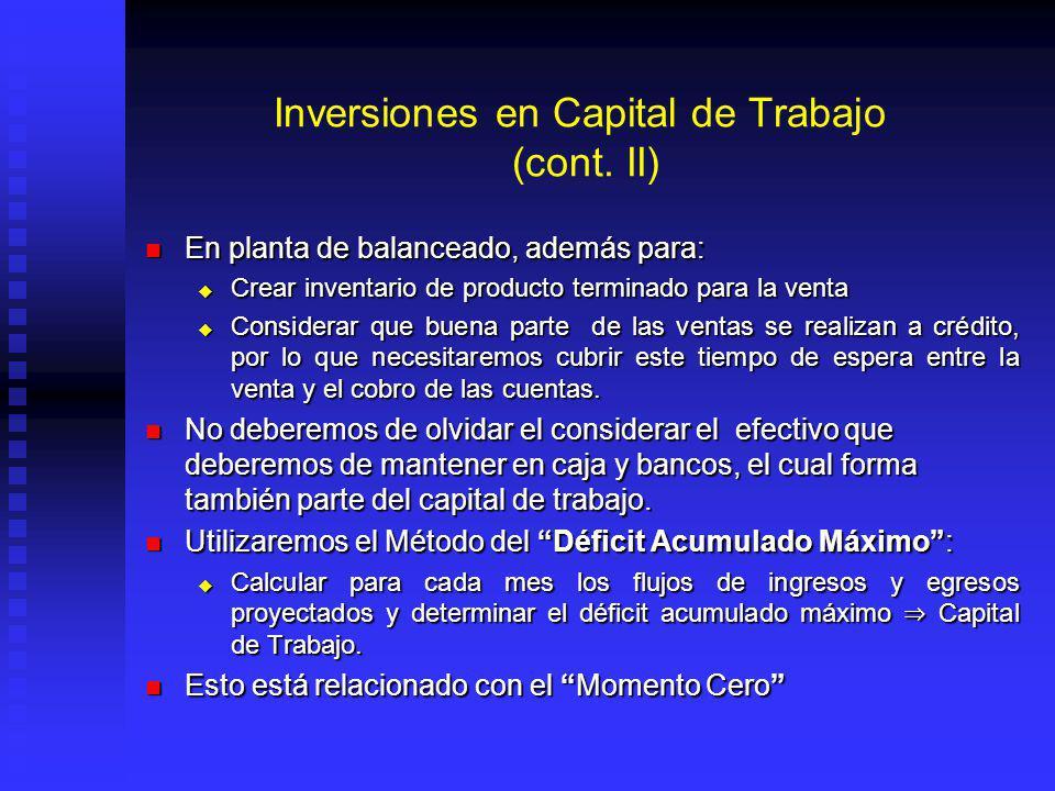 Inversiones en Capital de Trabajo (cont.