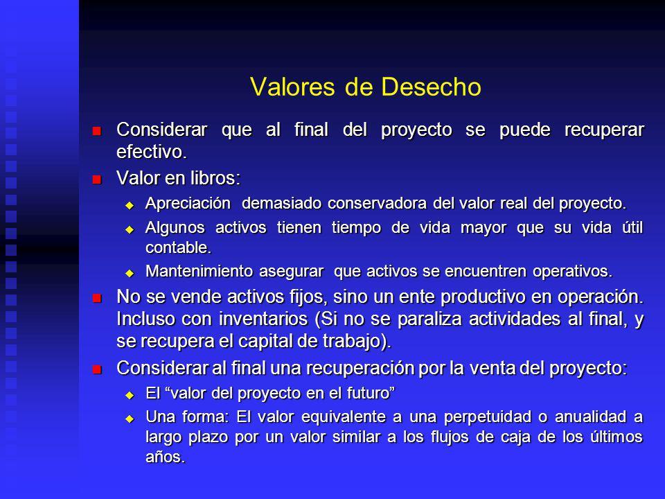 Valores de Desecho Considerar que al final del proyecto se puede recuperar efectivo.
