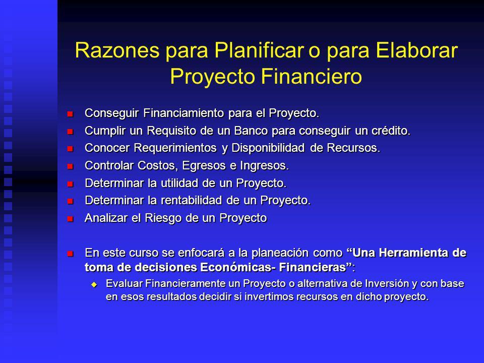 Razones para Planificar o para Elaborar Proyecto Financiero Conseguir Financiamiento para el Proyecto.