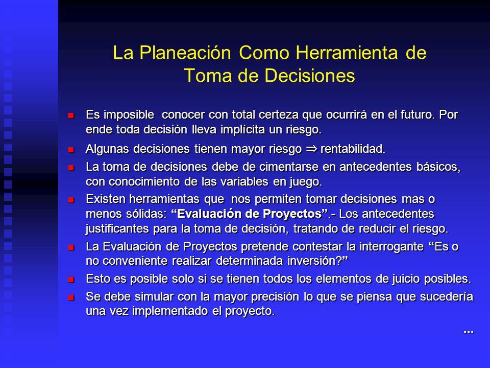 La Planeación Como Herramienta de Toma de Decisiones Es imposible conocer con total certeza que ocurrirá en el futuro.