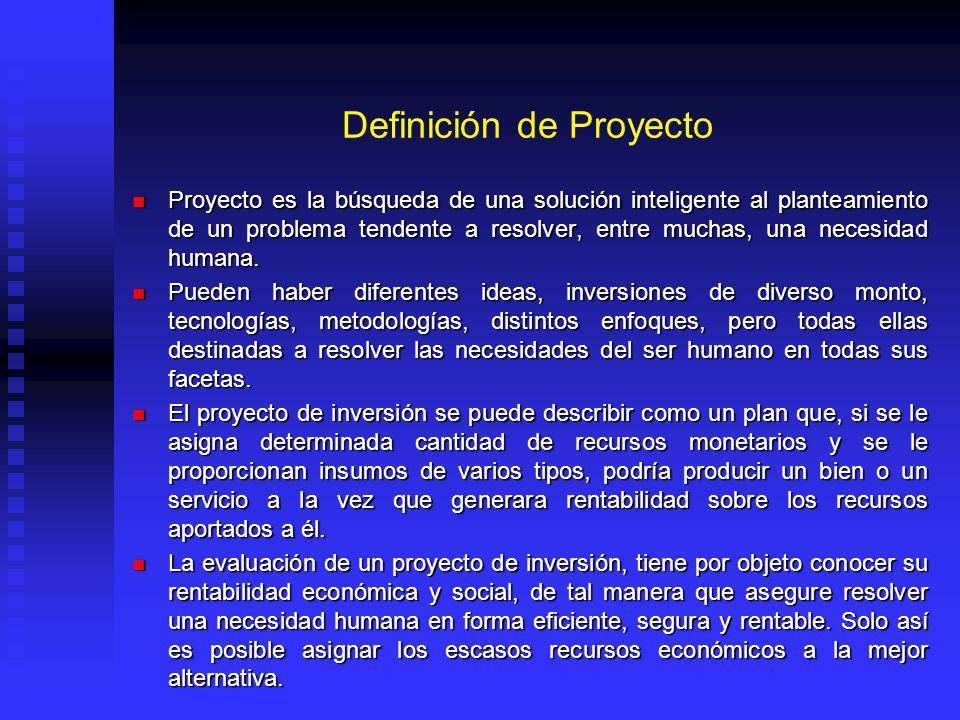 Definición de Proyecto Proyecto es la búsqueda de una solución inteligente al planteamiento de un problema tendente a resolver, entre muchas, una necesidad humana.