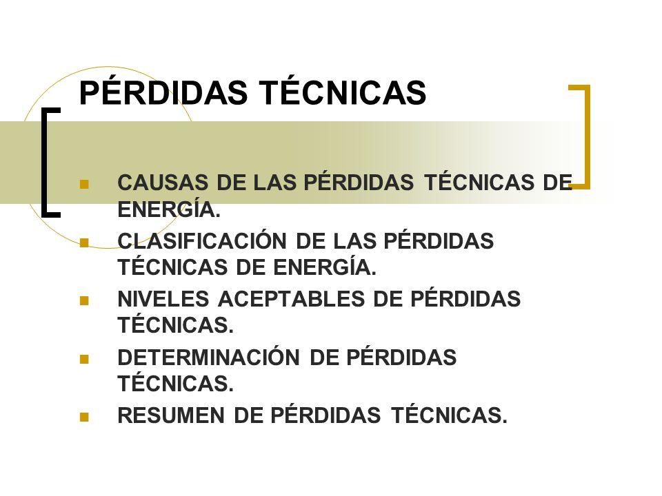 PÉRDIDAS TÉCNICAS CAUSAS DE LAS PÉRDIDAS TÉCNICAS DE ENERGÍA. CLASIFICACIÓN DE LAS PÉRDIDAS TÉCNICAS DE ENERGÍA. NIVELES ACEPTABLES DE PÉRDIDAS TÉCNIC