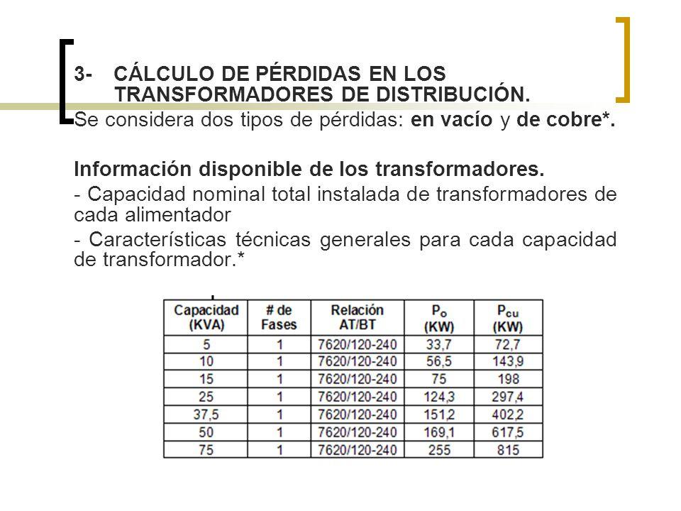 3-CÁLCULO DE PÉRDIDAS EN LOS TRANSFORMADORES DE DISTRIBUCIÓN. Se considera dos tipos de pérdidas: en vacío y de cobre*. Información disponible de los