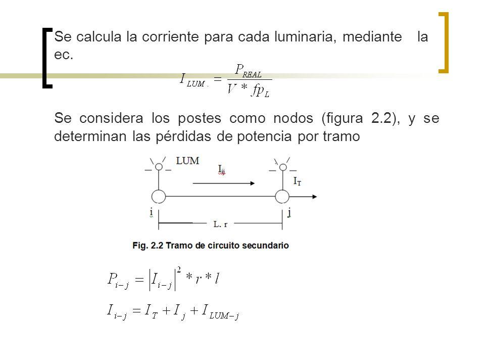 Se calcula la corriente para cada luminaria, mediante la ec. Se considera los postes como nodos (figura 2.2), y se determinan las pérdidas de potencia