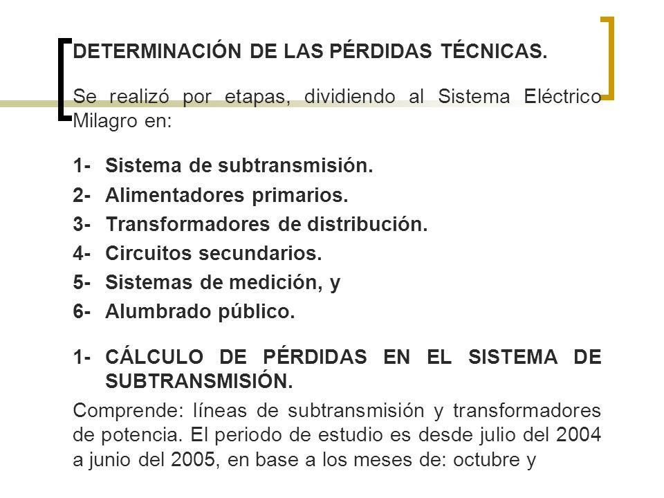 DETERMINACIÓN DE LAS PÉRDIDAS TÉCNICAS. Se realizó por etapas, dividiendo al Sistema Eléctrico Milagro en: 1-Sistema de subtransmisión. 2-Alimentadore