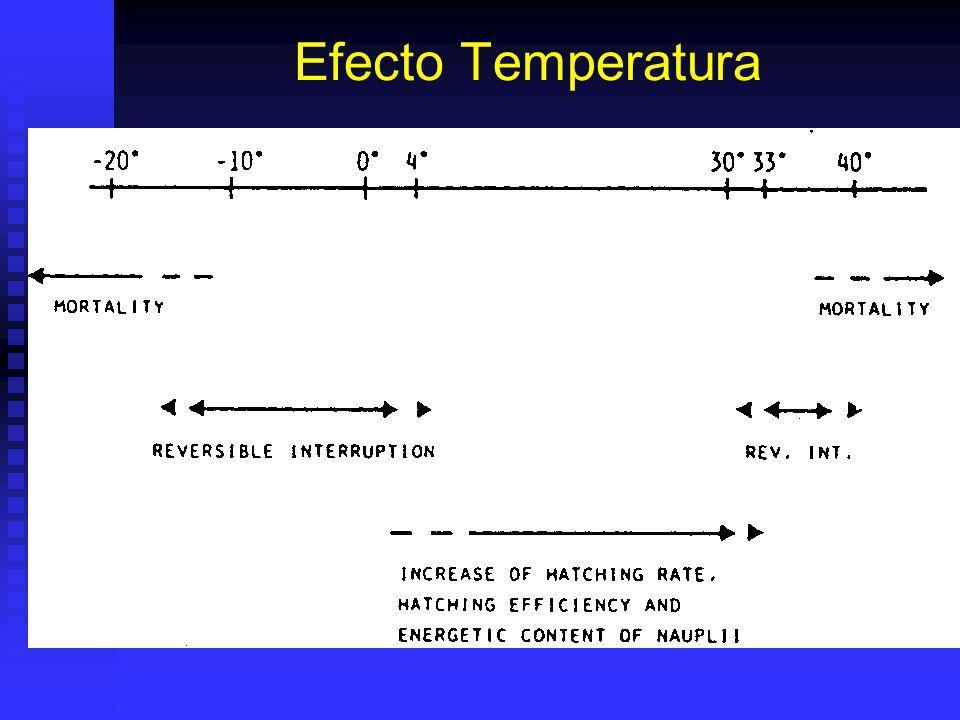 Eclosión de Artemia sp. Glycerol y respiración consumen O 2 y sueltan CO 2 = pH. A pH < 8: % eclosión : ensima no puede disolver cuticula embrionaria.