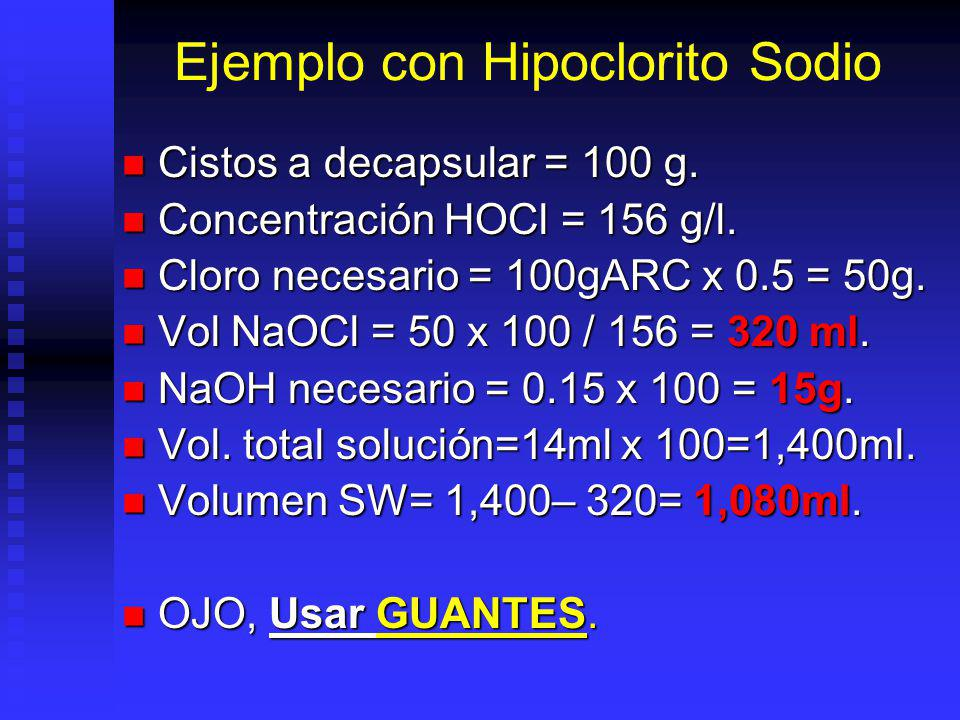 Solución Decapsuladora Fuente de Cloro: Fuente de Cloro: Hipoclorito de Sodio (NaOCl) 5 – 12%.