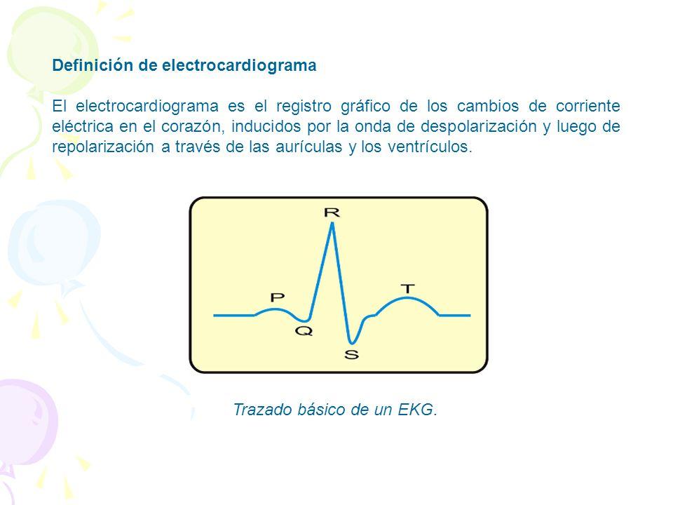 Definición de electrocardiograma El electrocardiograma es el registro gráfico de los cambios de corriente eléctrica en el corazón, inducidos por la onda de despolarización y luego de repolarización a través de las aurículas y los ventrículos.