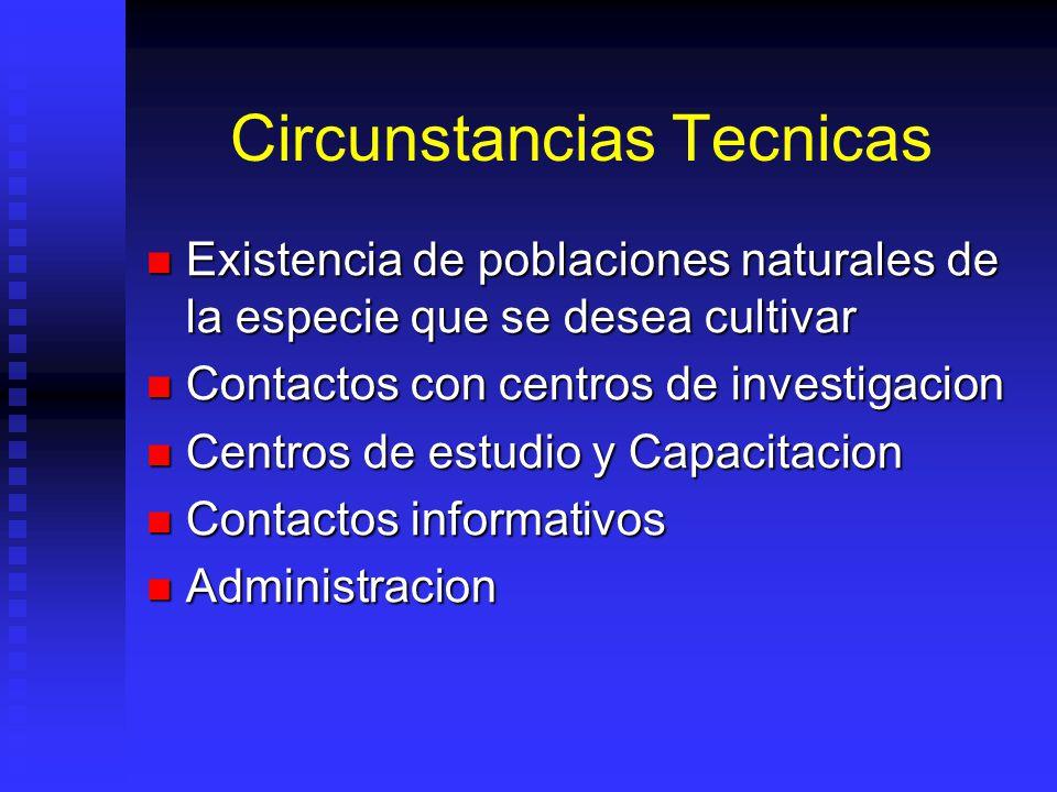 Circunstancias Tecnicas Existencia de poblaciones naturales de la especie que se desea cultivar Existencia de poblaciones naturales de la especie que