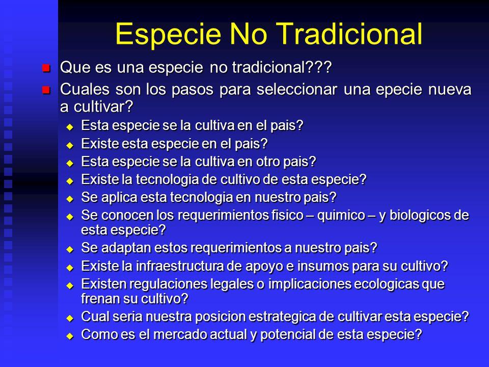 Especie No Tradicional Que es una especie no tradicional??? Que es una especie no tradicional??? Cuales son los pasos para seleccionar una epecie nuev