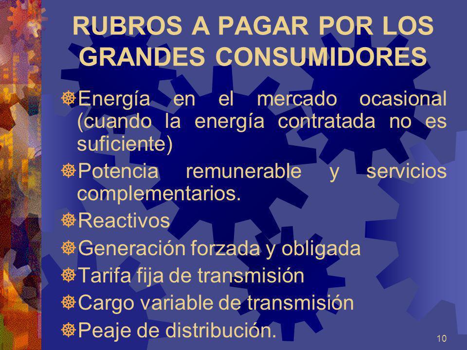 10 RUBROS A PAGAR POR LOS GRANDES CONSUMIDORES Energía en el mercado ocasional (cuando la energía contratada no es suficiente) Potencia remunerable y
