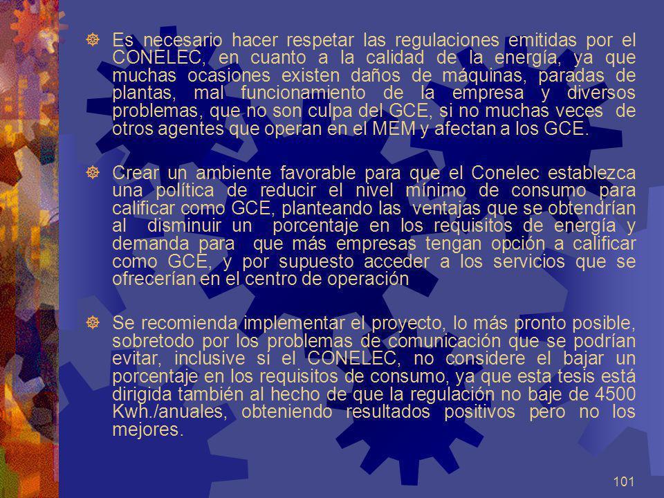101 Es necesario hacer respetar las regulaciones emitidas por el CONELEC, en cuanto a la calidad de la energía, ya que muchas ocasiones existen daños