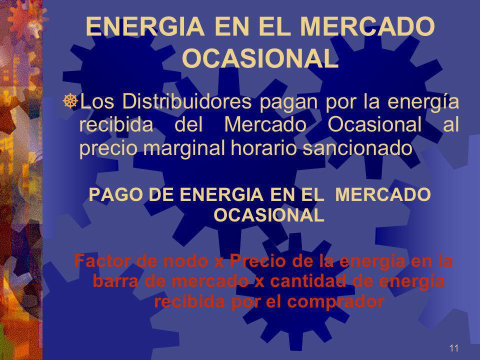 11 ENERGIA EN EL MERCADO OCASIONAL Los Distribuidores pagan por la energía recibida del Mercado Ocasional al precio marginal horario sancionado PAGO D