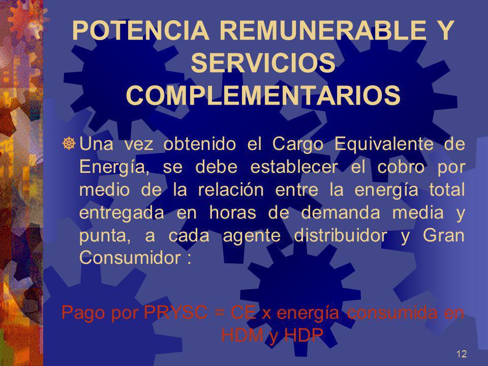 12 POTENCIA REMUNERABLE Y SERVICIOS COMPLEMENTARIOS Una vez obtenido el Cargo Equivalente de Energía, se debe establecer el cobro por medio de la rela