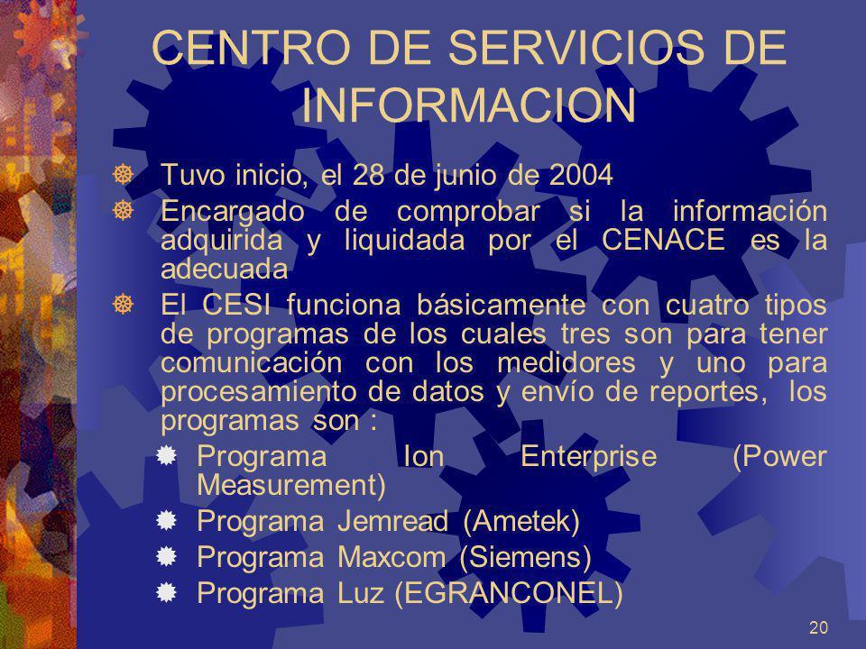 20 CENTRO DE SERVICIOS DE INFORMACION Tuvo inicio, el 28 de junio de 2004 Encargado de comprobar si la información adquirida y liquidada por el CENACE
