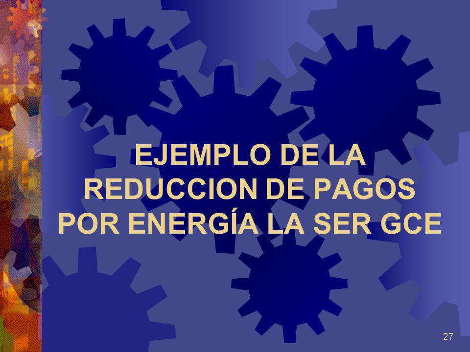 27 EJEMPLO DE LA REDUCCION DE PAGOS POR ENERGÍA LA SER GCE