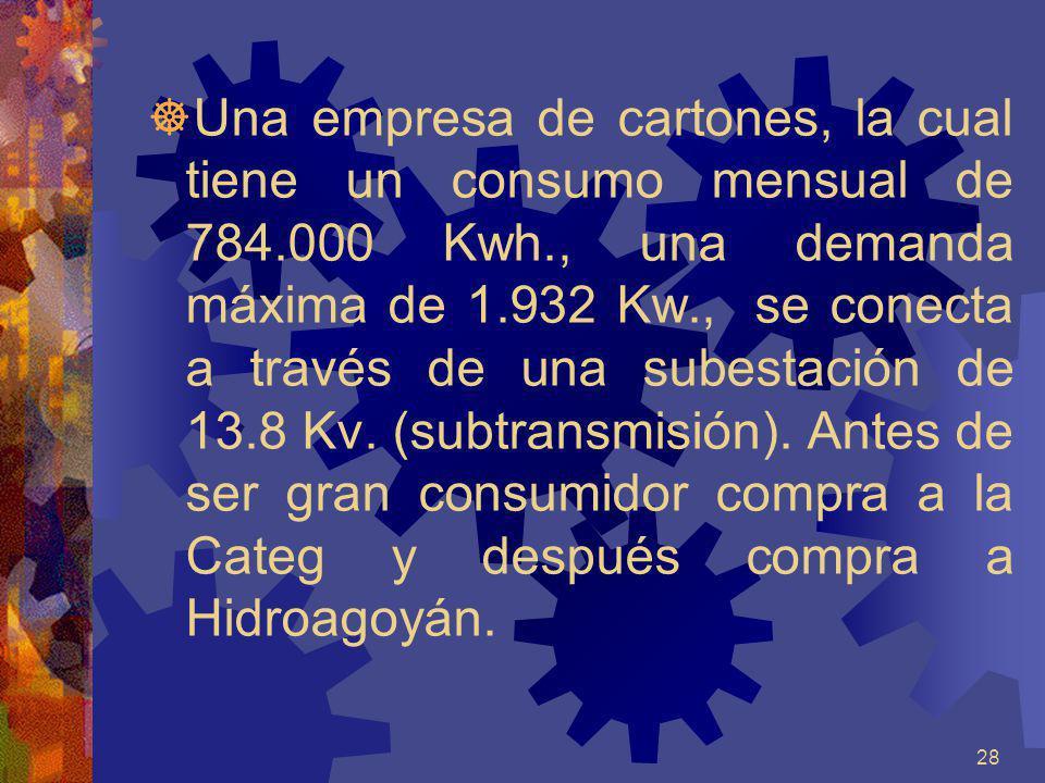 28 Una empresa de cartones, la cual tiene un consumo mensual de 784.000 Kwh., una demanda máxima de 1.932 Kw., se conecta a través de una subestación