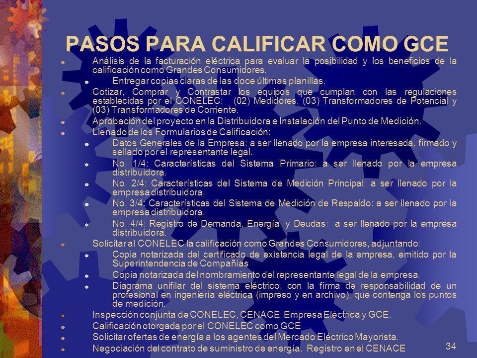 34 PASOS PARA CALIFICAR COMO GCE Análisis de la facturación eléctrica para evaluar la posibilidad y los beneficios de la calificación como Grandes Con