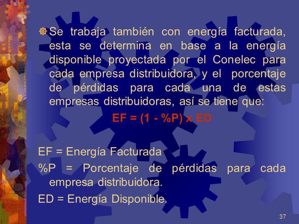 37 Se trabaja también con energía facturada, esta se determina en base a la energía disponible proyectada por el Conelec para cada empresa distribuido